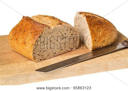 Artisan Whole Wheat Bread On Breadboard