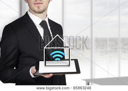 businessman tablet