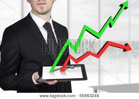 businessman tablet pc line graphs