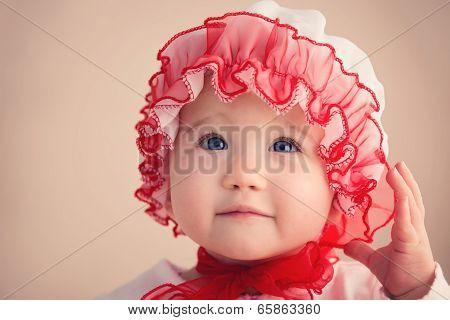 Cute Christmas Baby Girl Closeup