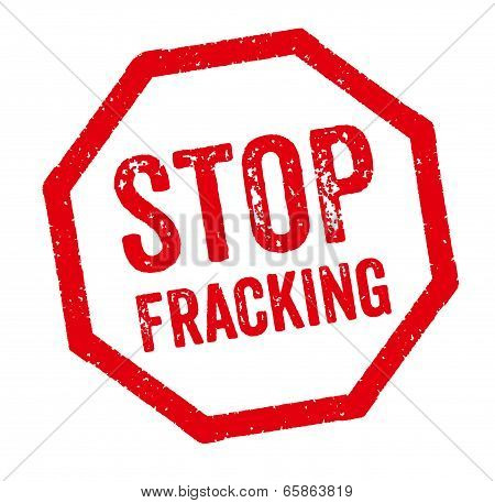 Red Stamp on a white background - Stop Fracking