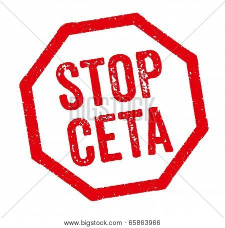 Red Stamp on a white background - Stop CETA