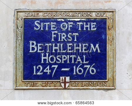 Bethlehem Hospital Plaque