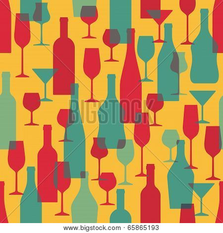 Background with Wine Bottles and Glasses - Seamless Vector Pattern Illustration for creative design