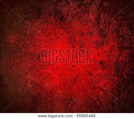 Abstract illustration background texture with bright center spotlight of dark red, black vignette border frame in gradient wall, paint floor Empty light spacious fairy room decorative color interior