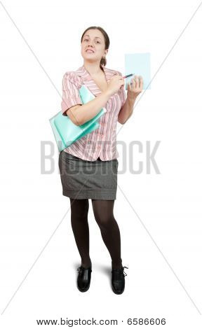 Businesswoman Pointing On Empty Paper