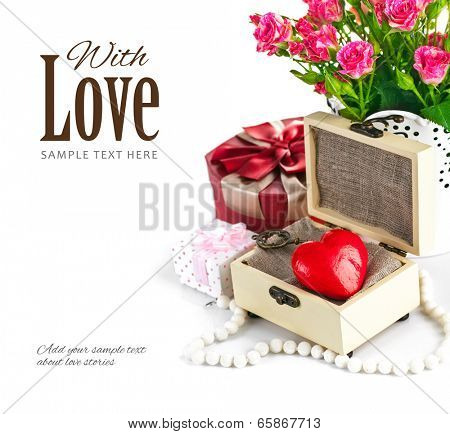 Red heart wooden casket with bunch roses. Isolated on white background