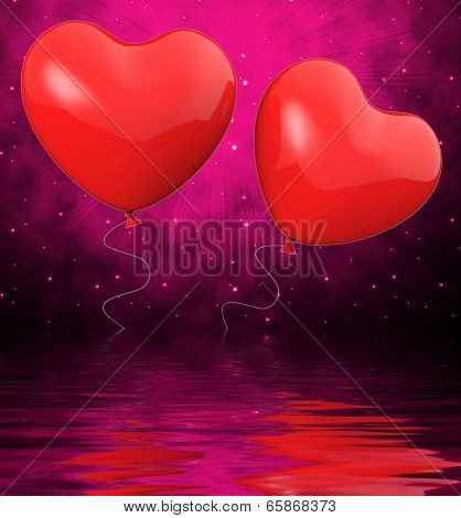 Heart Balloons Displays Mutual Attraction And Affection