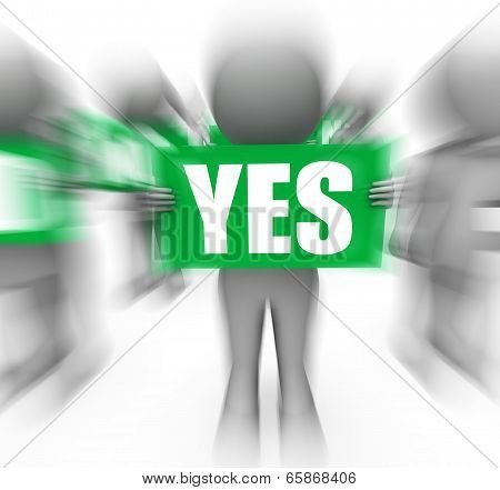 Characters Holding No Yes Signs Displays Uncertain Or Confused