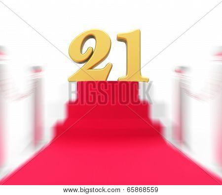 Golden Twenty One On Red Carpet Displays Entertainment Business Event Or Celebration