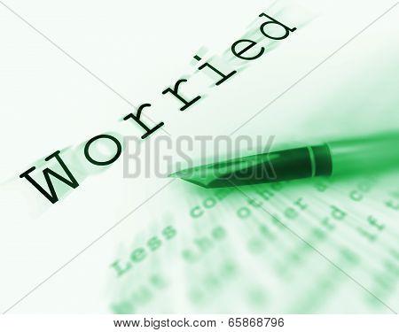 Worried Word Displays Afraid Troubled Or Concerned