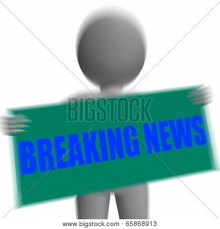 Breaking News Sign Character Displays News Update