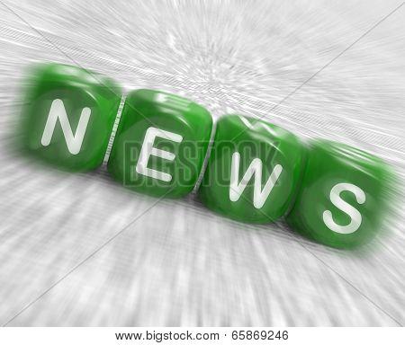 News Dice Displays Reporting Media And Bulletin