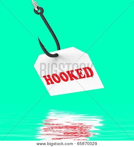 Hooked On Hook Displays Fishing Equipment Or Catch
