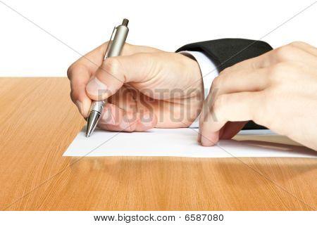 Geschäft. Hand mit Stift