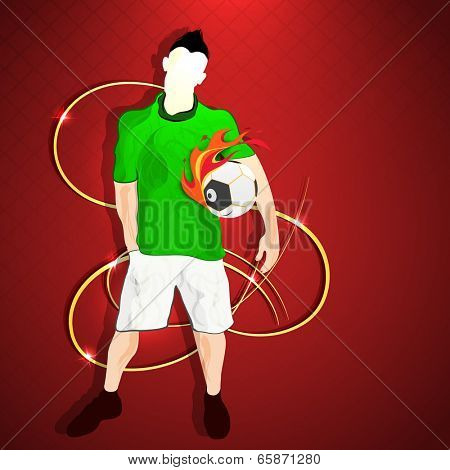 Illustration of a young football player holding soccer ball on maroon background.