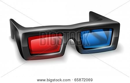 3d glasses for watching stereo films. Eps10 vector illustration. Isolated on white background