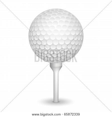 Golf realistic ball on a tee