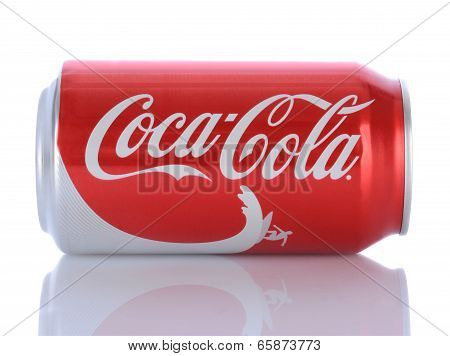 A Can Of Coca-cola On Its Side