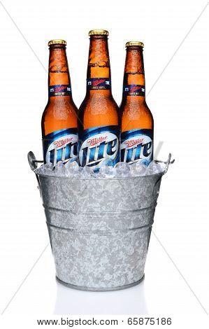 Miller Light Bottles In An Ice Bucket