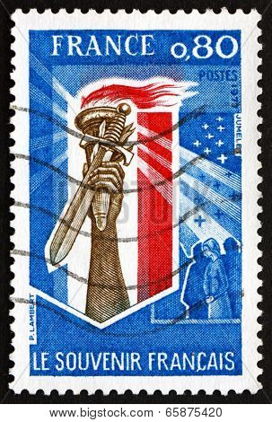 Postage Stamp France 1977 Hand Holding Torch And Sword