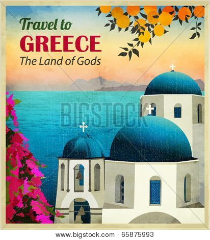 Travel to Greece Poster - Sunny Greece seaside view, with white church with blue domes at the front, oranges and slopes of wisteria travel advertisement