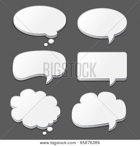 White speech bubbles set isolated on black. Vector illustration