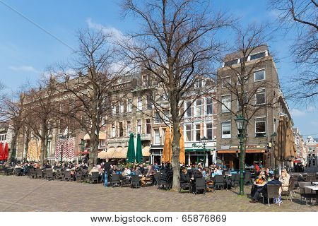 People Take A Drink At The Terraces Of The Hague, The Netherlands