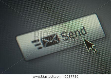 Close-up Of A Send Button And Na Hand Mouse Cursor