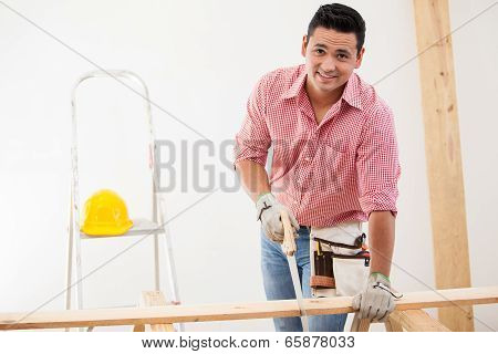Happy Carpenter At Work