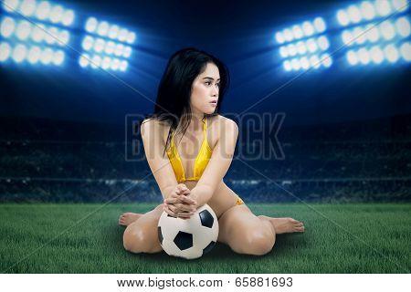 Sexy Woman Wearing Bikini At Stadium