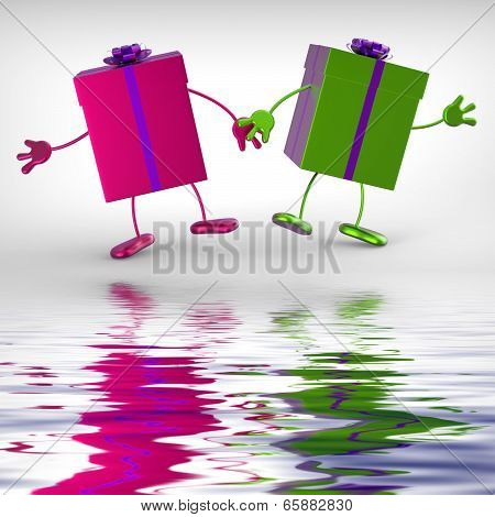 Presents Displays Receiving And Unwrapping Xmas Or Birthday Gift