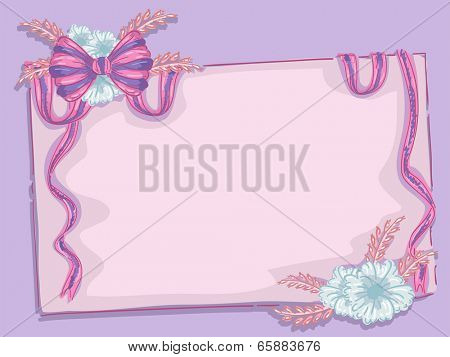Background Illustration Featuring a Flowery Ribbon Wrapped Around a Blank Piece of Paper