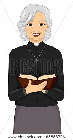 Illustration of a Female Priest Holding a Bible