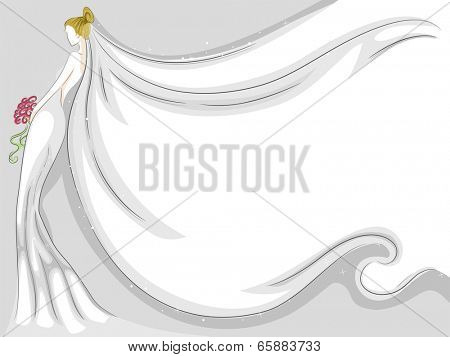 Background Illustration Featuring a Fluttering Bridal Veil