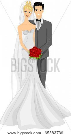 Illustration of a Newlywed Couple Posing for a Photo