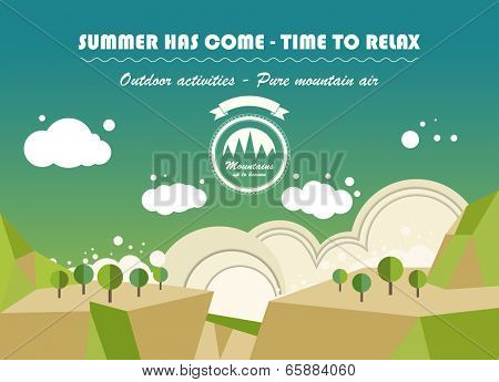 landscape nature background in flat style. vector design