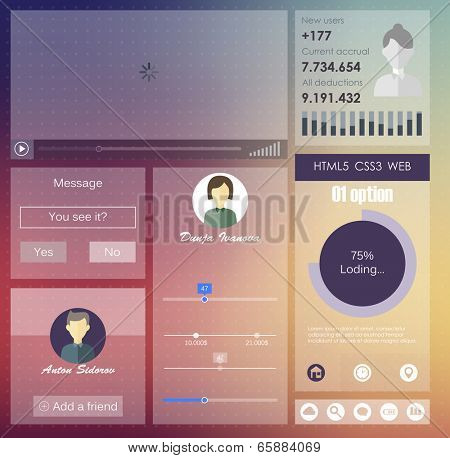 user interface in flat style.  vector design
