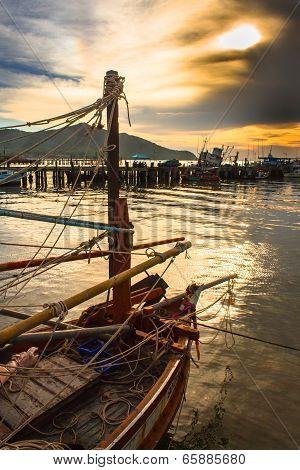 Fisherman boat and ship in harbor
