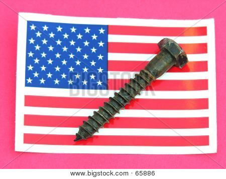 US Flag With Screw