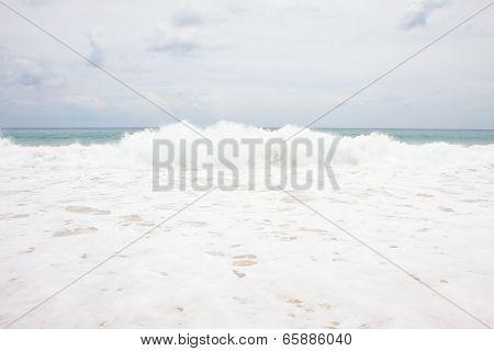 Seascape View With Strom Splash