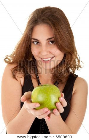Beauty Woman With Fresh Green Apple