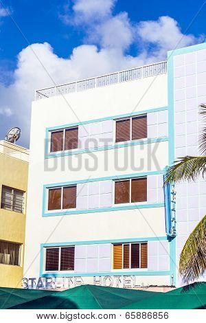 Facade Of Art Deco Buildings At Ocean Drive In Miami