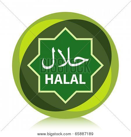 Green modern Halal product label.