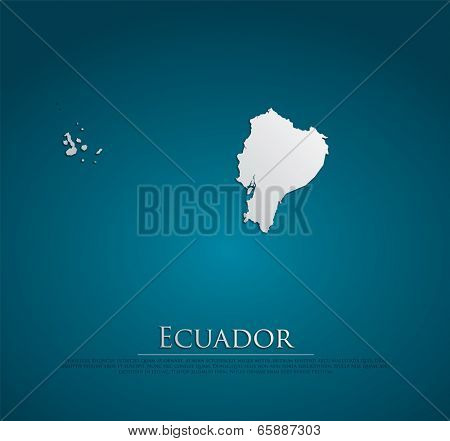 Ecuador map card paper 3D natural, high detailed vector