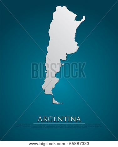 Argentina map card paper 3D natural, high detailed vector