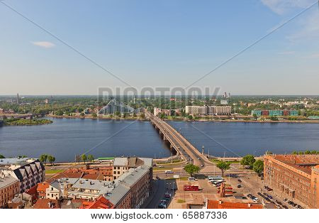 View Of Daugava River In Riga, Latvia