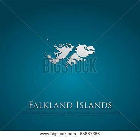 Falkland Islands map card paper 3D natural, high detailed vector