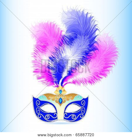 Carnival Mask With Feather And Jewels