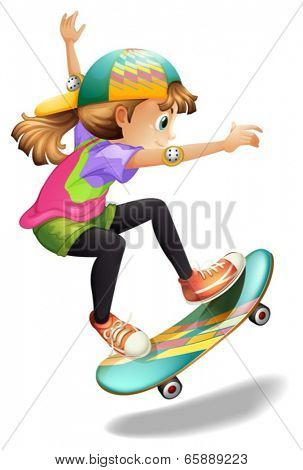 Illustration of a lady with a colorful skateboard on a white background